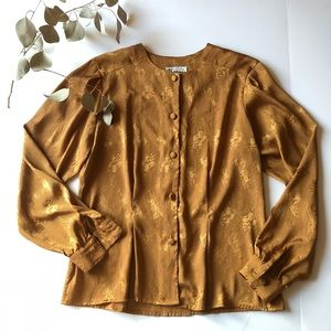 Vintage Gold Brocade Button Down Blouse Large